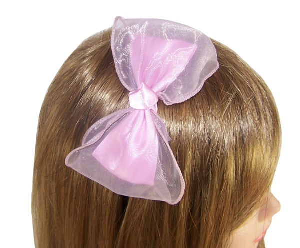 Girls fabric and net large bow on slim aliceband-3858