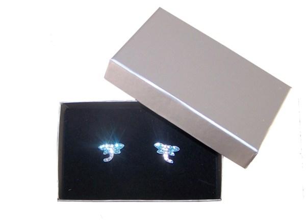 Girls blue crystal dragonfly stud earrings-3972