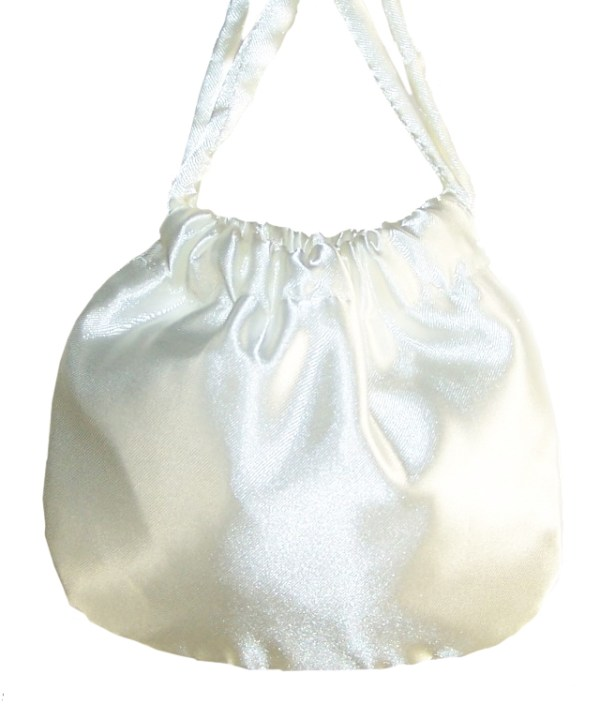 Girls ivory satin drawstring handbag-4017
