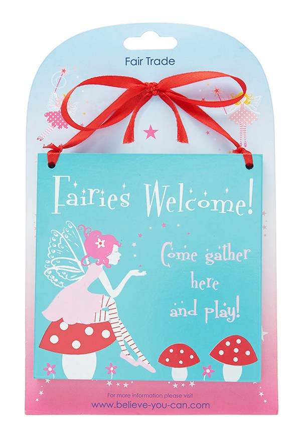 Fairy square wooden hanging sign -4079