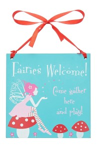 Fairy square wooden hanging sign