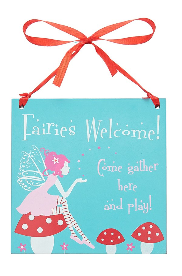 Fairy square wooden hanging sign -0