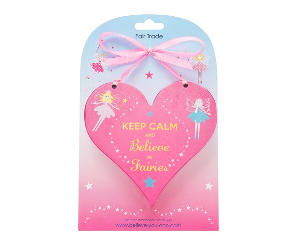 Fairy heart wooden hanging sign -4074