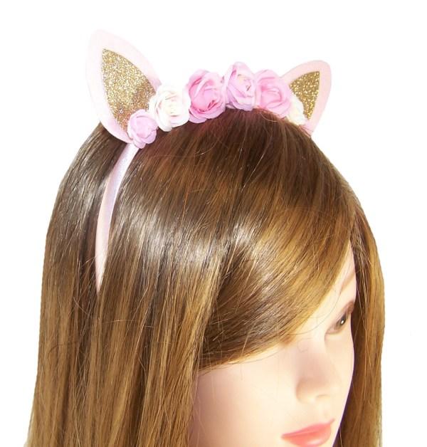 Girls pink tone flower and glitter ears design headband-4110