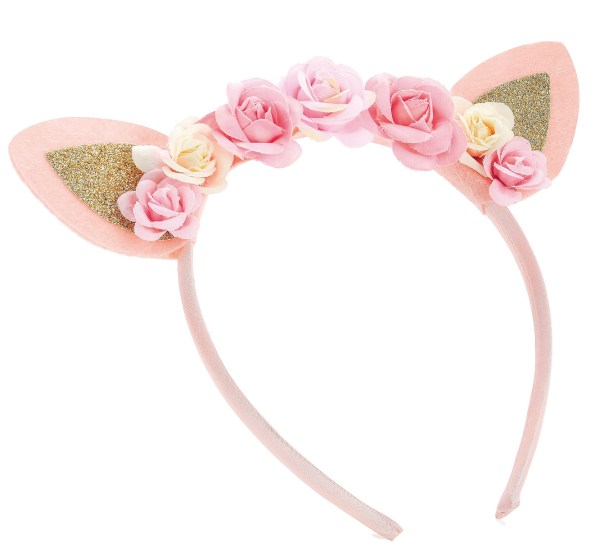Girls pink tone flower and glitter ears design headband-0