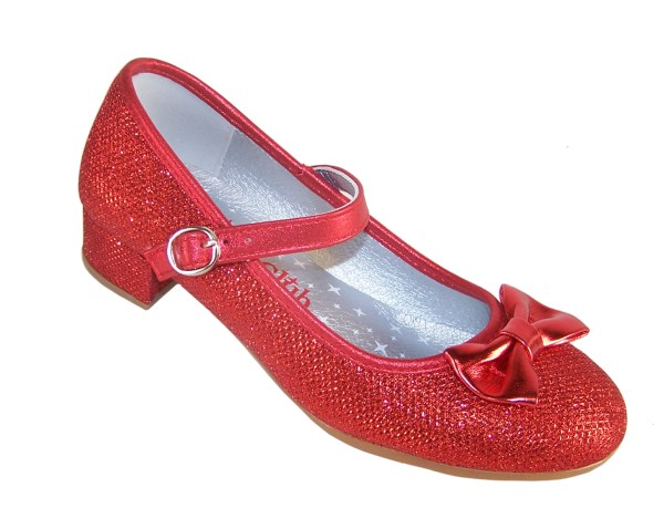 Girls red sparkly heeled dressing up shoes, socks and hair accessory set -4103