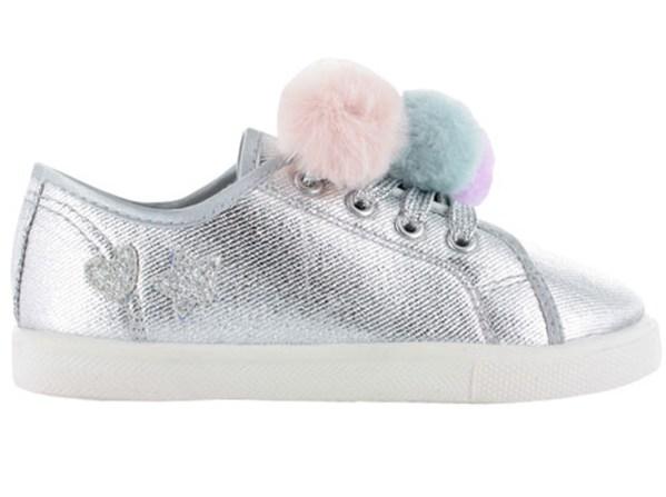 Girls silver sparkly pom pom trainers-4186