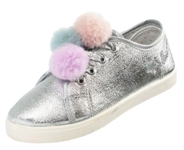 Girls silver sparkly pom pom trainers-0