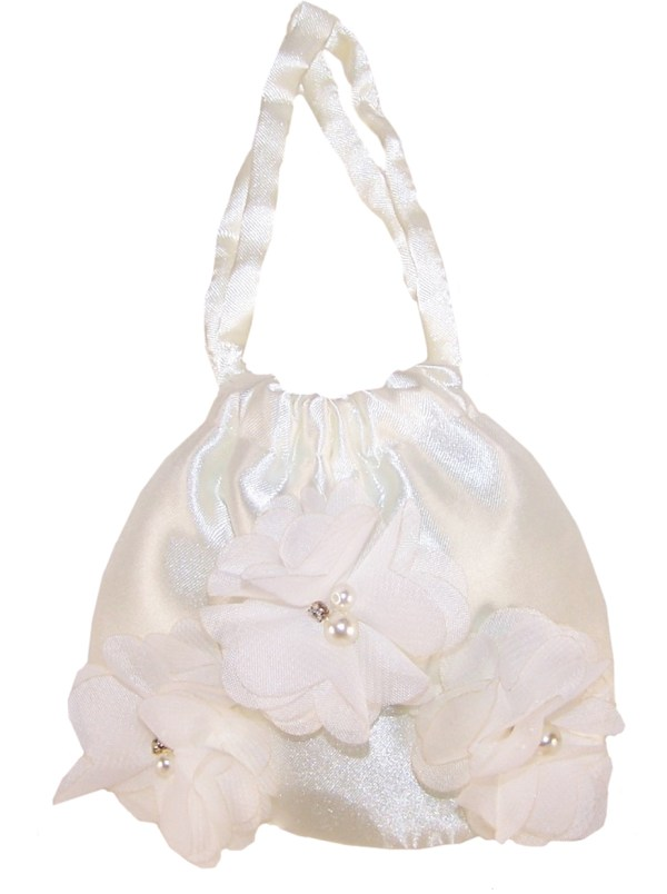 Girls ivory satin flower girl bridesmaid ballerinas and bag -4233