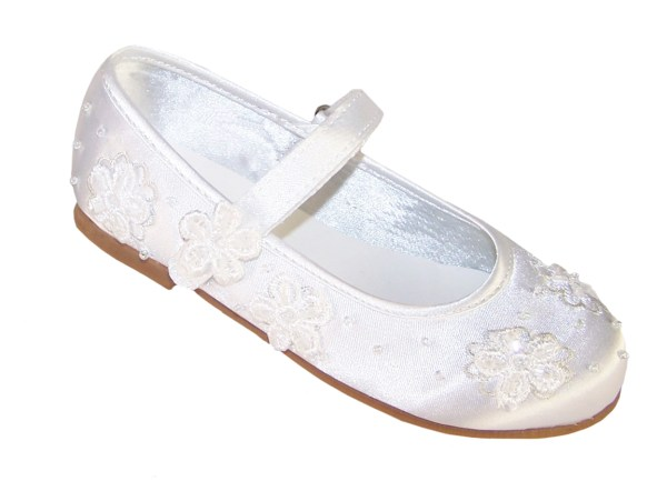 Infant white flower girl, bridesmaid and ballerina shoes-4208