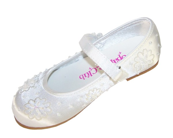 Girls white satin flower girl and bridesmaid ballerina shoes -4210