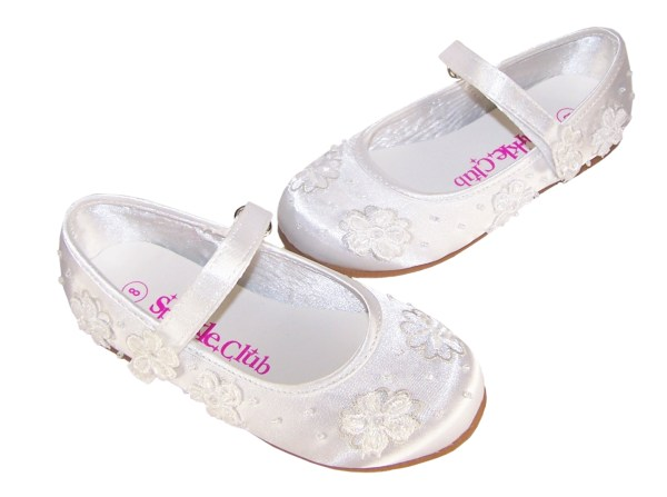 Infant white flower girl, bridesmaid and ballerina shoes-4207