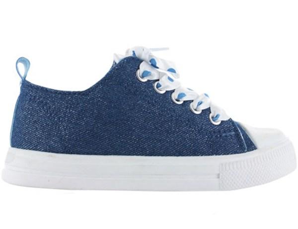 Girls blue sparkly denim trainers with poka dot ribbon trainers-4238