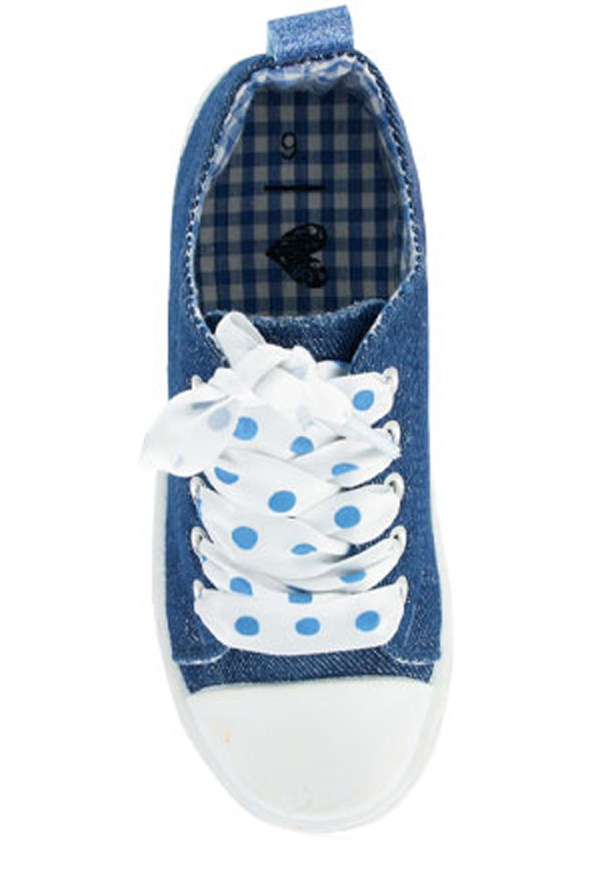 Girls blue sparkly denim trainers with poka dot ribbon trainers-4240