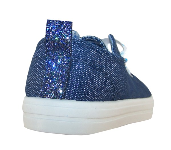 Girls blue sparkly denim trainers with poka dot ribbon trainers-5484