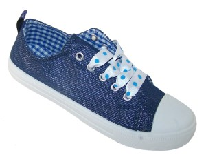 Girls blue sparkly denim trainers with poka dot ribbon trainers