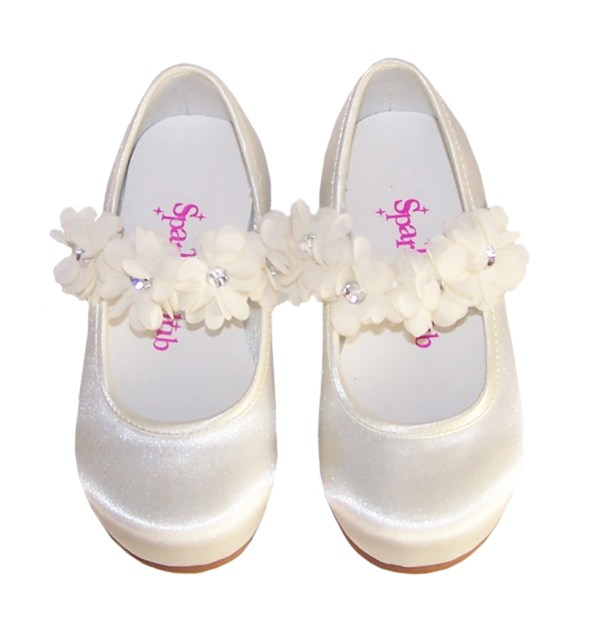 Girls ivory satin flower girl, bridesmaid and ballerina shoes-4202