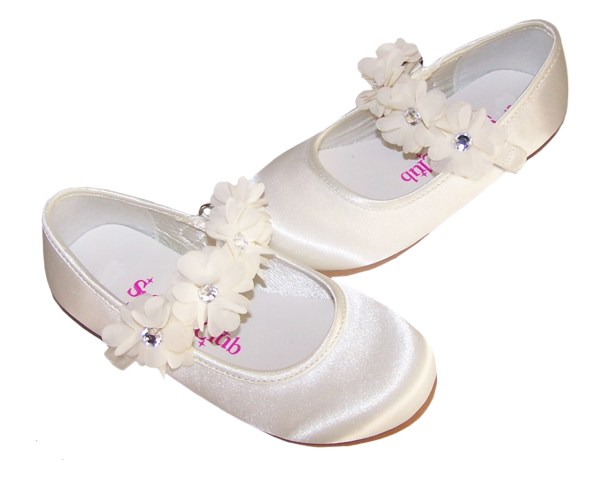 Infants ivory satin flower girl, bridesmaid and ballerina shoes-4199