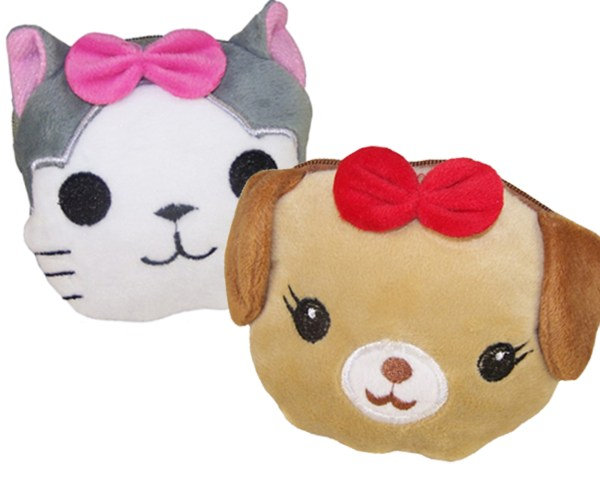 Girls set of 2 coin purses - a dog and a cat -0