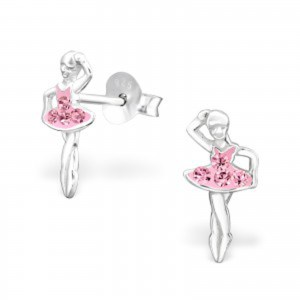 Girls pink crystal ballerina stud earrings