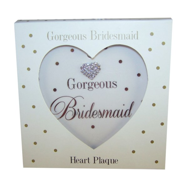 Bridesmaids sparkly heart plaque gift-4738