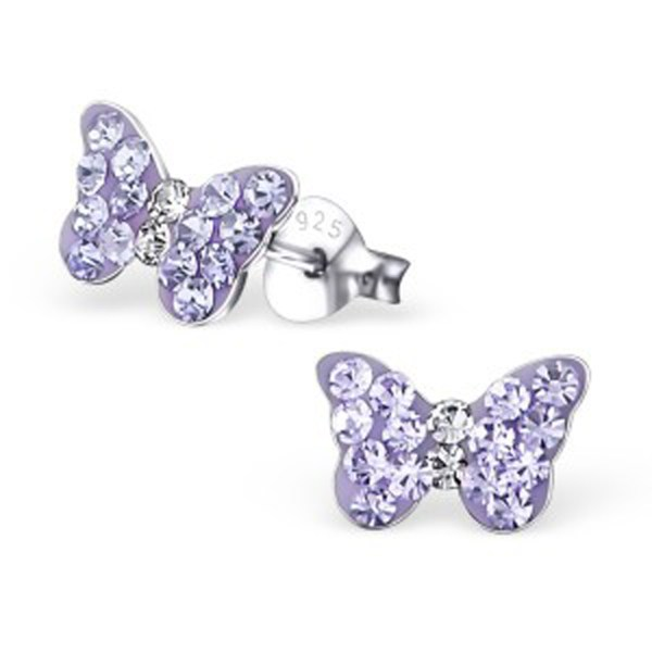 Girls sterling silver purple crystal butterfly necklace and stud earrings set-4614