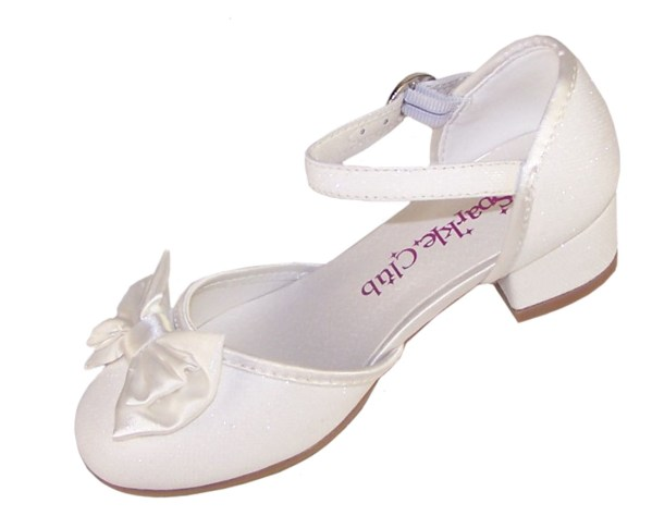 Girls sparkly ivory heeled bridesmaid shoes -4693