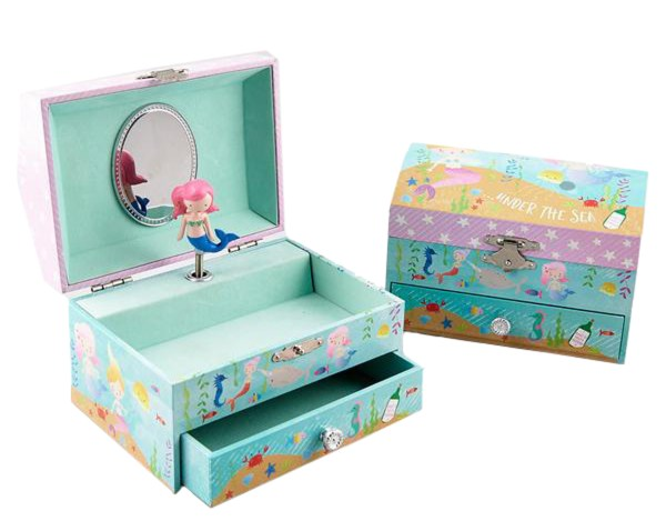 Girls mermaid themed jewellery box and silver dolphin necklace set-4631