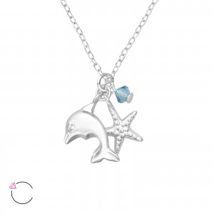 Girls mermaid themed jewellery box and silver dolphin necklace set-4634