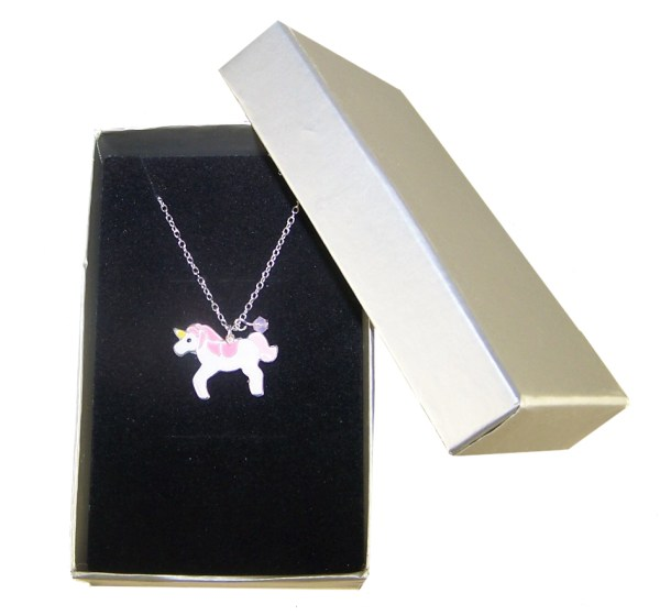 Girls sterling silver and epoxy unicorn necklace with a crystal from Swarovski -5286