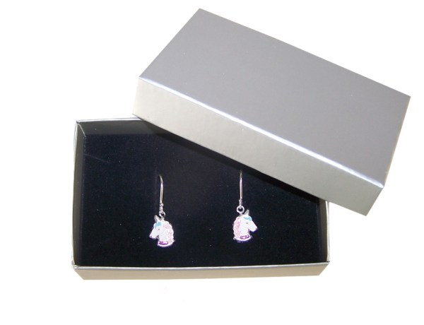 Girls unicorn musical jewellery box with silver necklace and earrings-4618