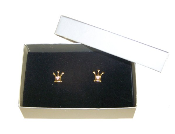 Girls 925 sterling silver gold plated crown stud earrings-5287