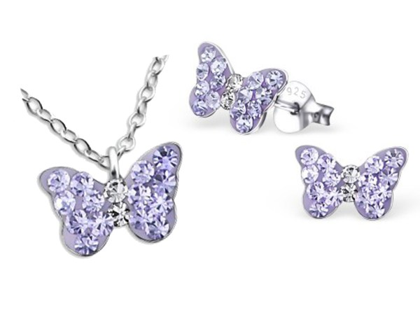 Girls sterling silver purple crystal butterfly necklace and stud earrings set-0