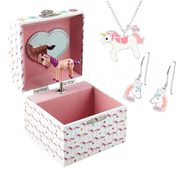 Girls unicorn musical jewellery box with silver necklace and earrings-0