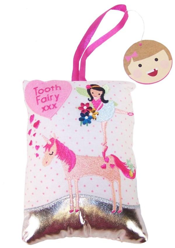 Tooth fairy unicorn sparkly cushion-0