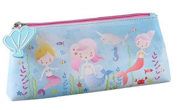 Girls blue mermaid pencil case-0