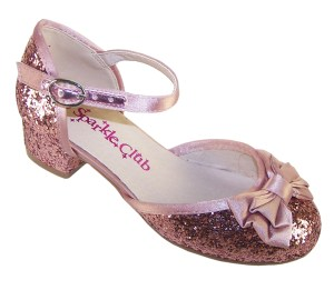 Girls dusky pink glitter low heeled party shoes