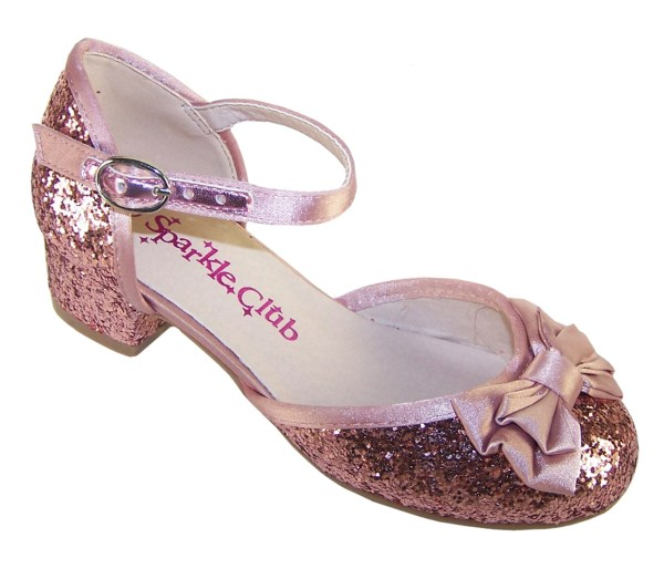 Girls dusky pink glitter low heeled party shoes-0