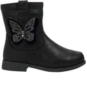 Girls black ankle boots with butterfly trim