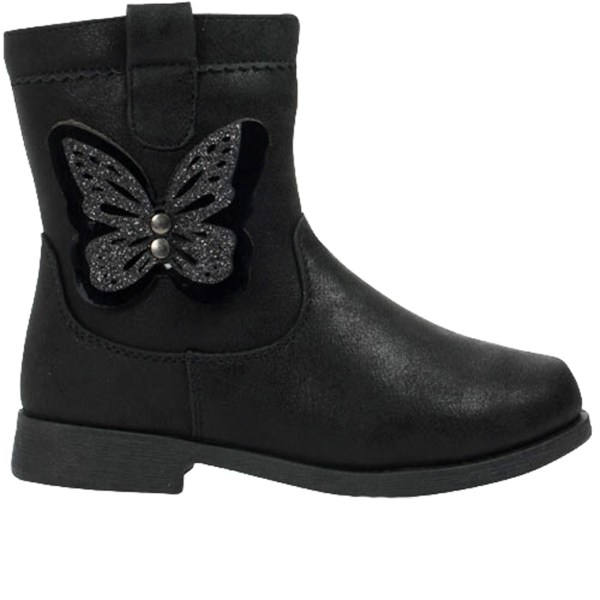 Girls black ankle boots with butterfly trim-0