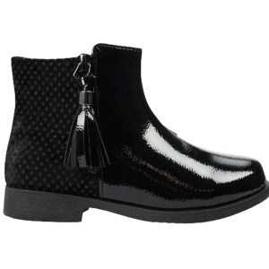 Girls black patent PU tassle ankle boots