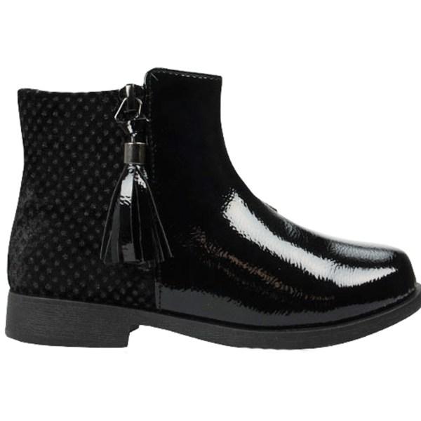 Girls black patent PU tassle ankle boots-0