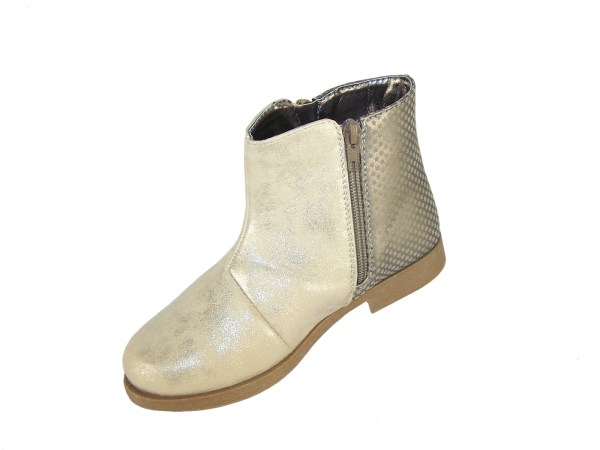 Girls pale gold shimmer PU tassle ankle boots-4921