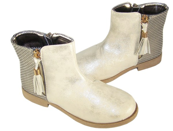 Girls pale gold shimmer PU tassle ankle boots-4920