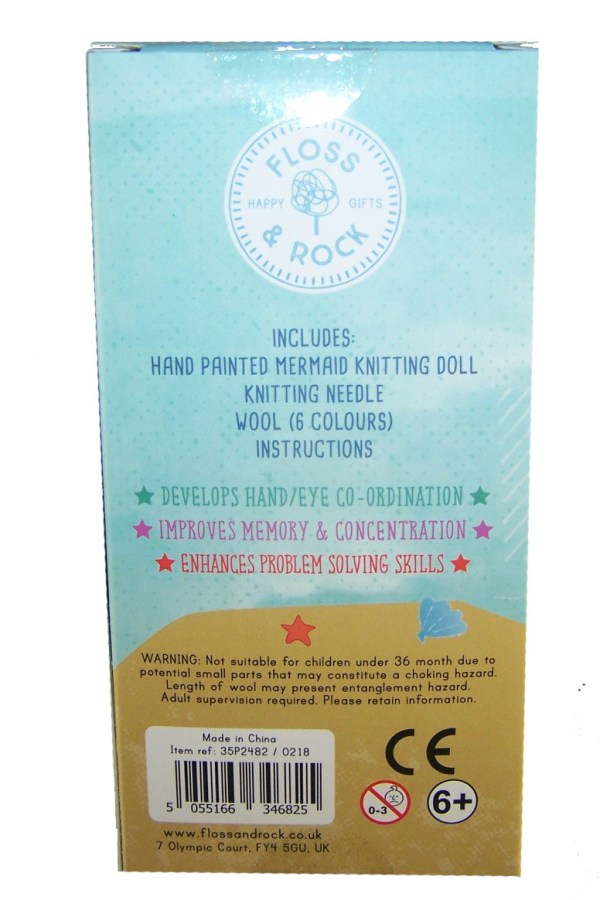 Mermaid knitting doll with 6 coloured wools-5000