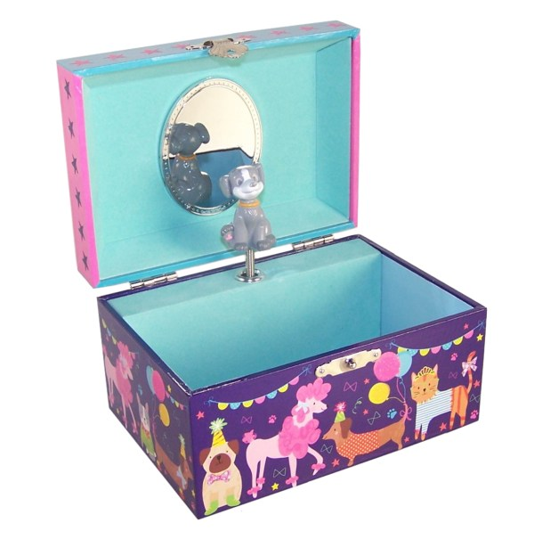 Childrens pets musical jewellery box and silver crystal dog necklace set-5149