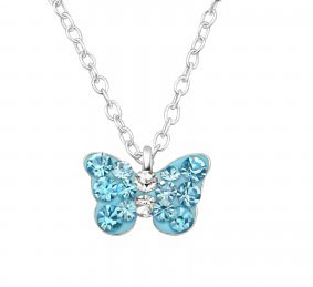 Girls silver blue crystal butterfly necklace and earrings set-5028