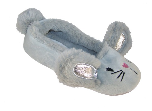 Childrens silver grey furry mouse slippers-0