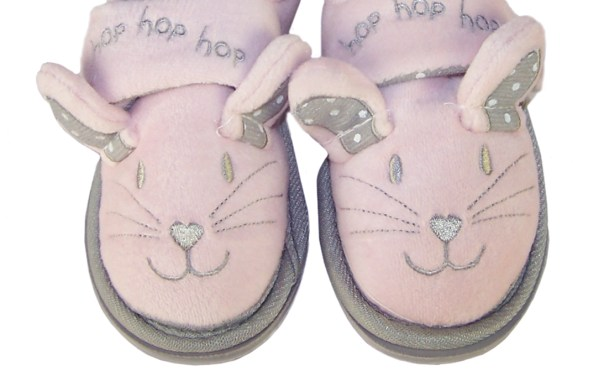 Infant girls pink and silver mouse slippers-5117