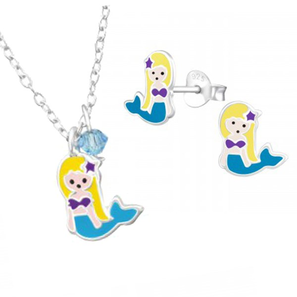 Girls sterling silver and epoxy mermaid necklace and stud earrings set -0